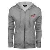 ENZA Ladies Grey Fleece Full Zip Hoodie-Primary Mark 2 Color