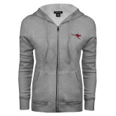 ENZA Ladies Grey Fleece Full Zip Hoodie-Roo Icon