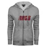 ENZA Ladies Grey Fleece Full Zip Hoodie-Roos Full Color