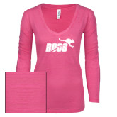ENZA Ladies Hot Pink Long Sleeve V Neck Tee-Primary Mark 1 Color