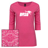Ladies Dark Fuchsia Heather Tri Blend Lace 3/4 Sleeve Tee-Primary Mark 1 Color
