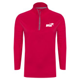 Ladies Pink Raspberry Sport Wick Textured 1/4 Zip Pullover-Primary Mark 1 Color