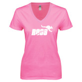 Next Level Ladies Junior Fit Ideal V Pink Tee-Primary Mark 1 Color