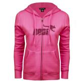ENZA Ladies Fuchsia Fleece Full Zip Hoodie-Primary Mark Glitter
