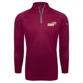 Under Armour Maroon Tech 1/4 Zip Performance Shirt-Primary Mark 2 Color