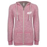 ENZA Ladies Hot Pink Marled Full Zip Hoodie-Primary Mark 1 Color
