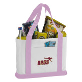 Contender White/Pink Canvas Tote-Primary Mark 2 Color