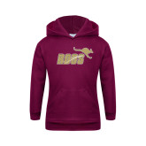 Youth Maroon Fleece Hoodie-Primary Mark Full Color