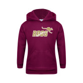 Youth Maroon Fleece Hoodie-Primary Mark 2 Color