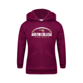 Youth Maroon Fleece Hoodie-Football Arched Design
