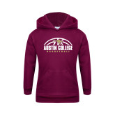 Youth Maroon Fleece Hoodie-Basketball Half Ball Design