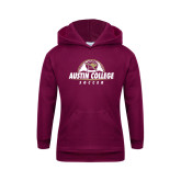 Youth Maroon Fleece Hoodie-Soccer Half Ball Design