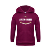 Youth Maroon Fleece Hoodie-Baseball Plate Design