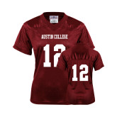 Ladies Maroon Replica Football Jersey-#12