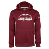 Under Armour Maroon Performance Sweats Team Hoodie-Football Arched Design