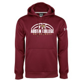 Under Armour Maroon Performance Sweats Team Hoodie-Basketball Half Ball Design