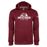 Under Armour Maroon Performance Sweats Team Hoodie-Soccer Half Ball Design