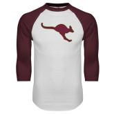 White/Maroon Raglan Baseball T Shirt-Roo Icon