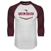 White/Maroon Raglan Baseball T Shirt-Baseball Plate Design