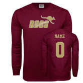 Maroon Long Sleeve T Shirt-Primary Mark Full Color, Custom Tee w/ Name and #