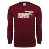 Maroon Long Sleeve T Shirt-Primary Mark 2 Color