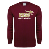 Maroon Long Sleeve T Shirt-Roos Austin College w Roo