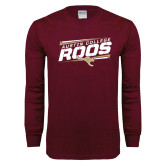 Maroon Long Sleeve T Shirt-Austin college Roos Fancy Lines