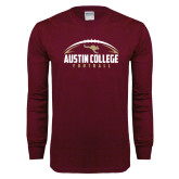 Maroon Long Sleeve T Shirt-Football Arched Design