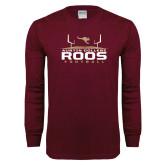 Maroon Long Sleeve T Shirt-Football Field Design