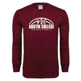 Maroon Long Sleeve T Shirt-Basketball Half Ball Design