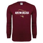 Maroon Long Sleeve T Shirt-Softball Seams Design