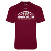 Under Armour Maroon Tech Tee-Basketball Half Ball Design