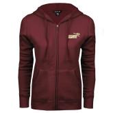 ENZA Ladies Maroon Fleece Full Zip Hoodie-Primary Mark 2 Color