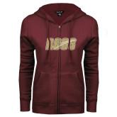 ENZA Ladies Maroon Fleece Full Zip Hoodie-Roos Full Color