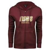 ENZA Ladies Maroon Fleece Full Zip Hoodie-Football