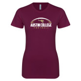 Next Level Ladies SoftStyle Junior Fitted Maroon Tee-Football Arched Design