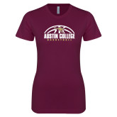 Next Level Ladies SoftStyle Junior Fitted Maroon Tee-Basketball Half Ball Design