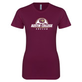Next Level Ladies SoftStyle Junior Fitted Maroon Tee-Soccer Half Ball Design