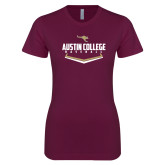 Next Level Ladies SoftStyle Junior Fitted Maroon Tee-Baseball Plate Design