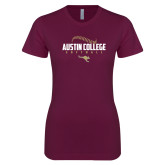 Next Level Ladies SoftStyle Junior Fitted Maroon Tee-Softball Seams Design