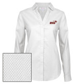 Ladies Red House Diamond Dobby White Long Sleeve Shirt-Primary Mark 2 Color