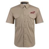 Khaki Short Sleeve Performance Fishing Shirt-Primary Mark 2 Color