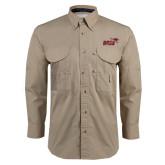 Khaki Long Sleeve Performance Fishing Shirt-Primary Mark 2 Color