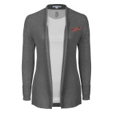 Ladies Heather Grey Open Front Cardigan-Primary Mark 2 Color