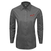 Ladies Grey Tonal Pattern Long Sleeve Shirt-Primary Mark 2 Color