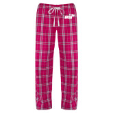 Ladies Dark Fuchsia/White Flannel Pajama Pant-Primary Mark 1 Color