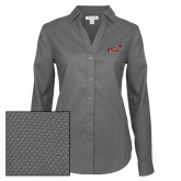 Ladies Red House Diamond Dobby Charcoal Long Sleeve Shirt-Primary Mark 2 Color