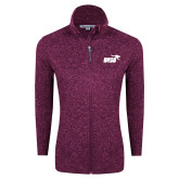 Dark Pink Heather Ladies Fleece Jacket-Primary Mark 1 Color