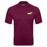 Maroon Textured Saddle Shoulder Polo-Primary Mark 2 Color