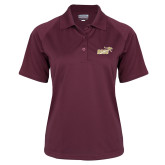 Ladies Maroon Textured Saddle Shoulder Polo-Primary Mark 2 Color